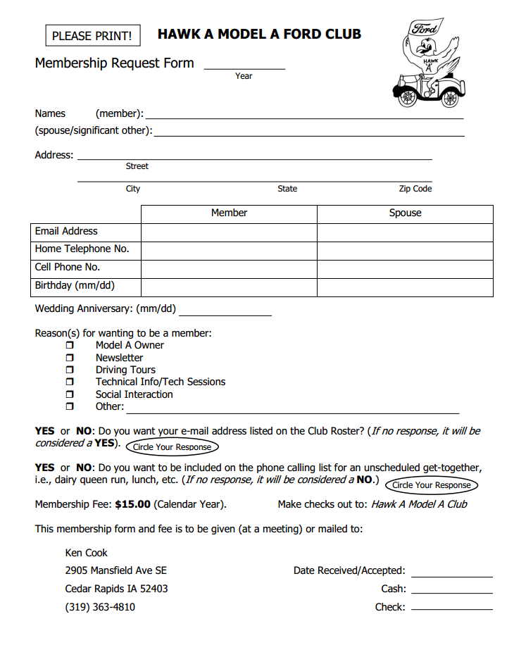 HAMAFC registration form